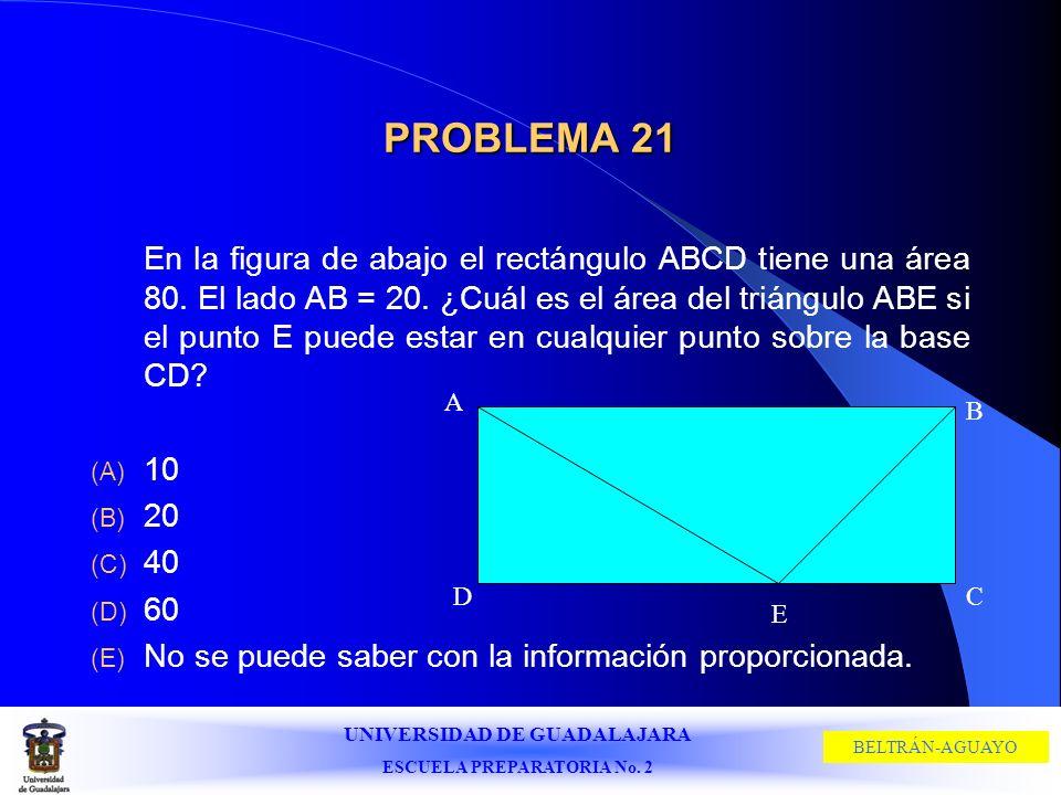 UNIVERSIDAD DE GUADALAJARA ESCUELA PREPARATORIA No. 2 BELTRÁN-AGUAYO PROBLEMA 21 En la figura de abajo el rectángulo ABCD tiene una área 80. El lado A