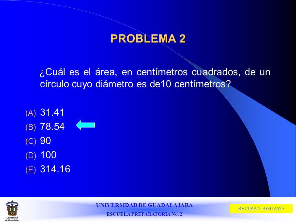 UNIVERSIDAD DE GUADALAJARA ESCUELA PREPARATORIA No. 2 BELTRÁN-AGUAYO PROBLEMA 2 ¿Cuál es el área, en centímetros cuadrados, de un círculo cuyo diámetr