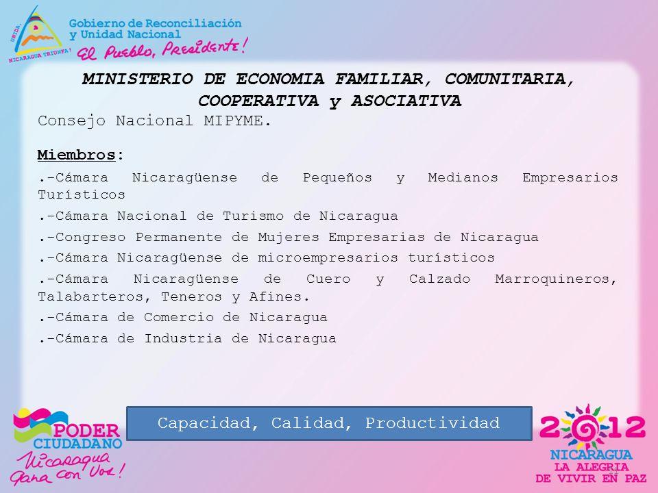 MINISTERIO DE ECONOMIA FAMILIAR, COMUNITARIA, COOPERATIVA y ASOCIATIVA Consejo Nacional MIPYME. Miembros:.-Cámara Nicaragüense de Pequeños y Medianos