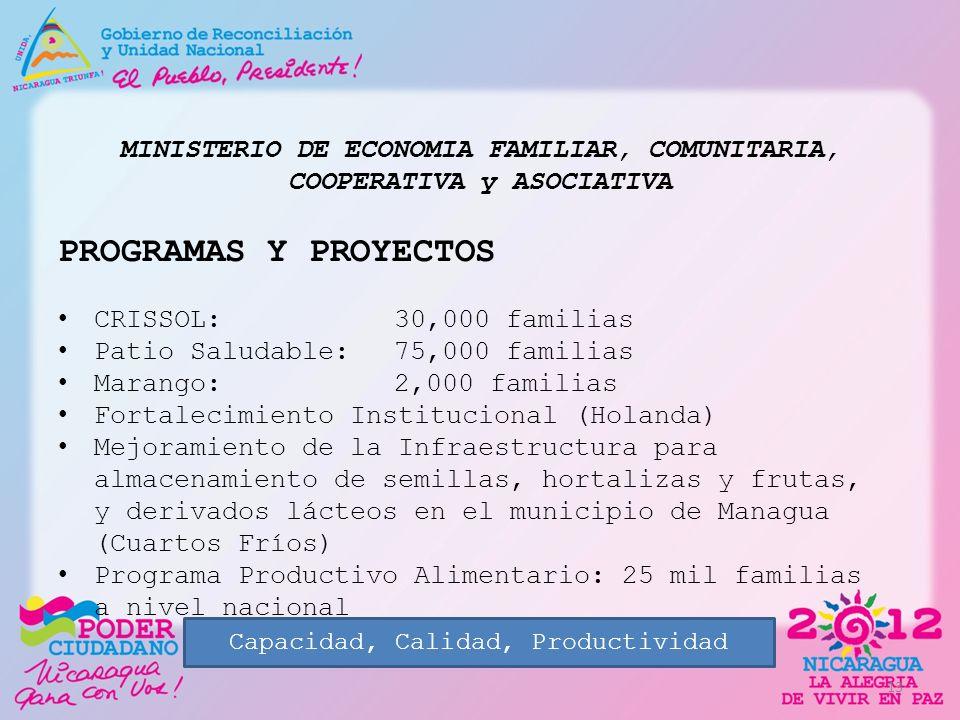 MINISTERIO DE ECONOMIA FAMILIAR, COMUNITARIA, COOPERATIVA y ASOCIATIVA PROGRAMAS Y PROYECTOS CRISSOL: 30,000 familias Patio Saludable: 75,000 familias