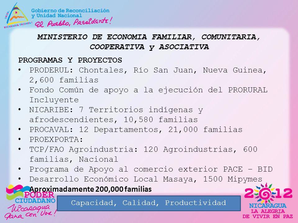 MINISTERIO DE ECONOMIA FAMILIAR, COMUNITARIA, COOPERATIVA y ASOCIATIVA PROGRAMAS Y PROYECTOS PRODERUL: Chontales, Río San Juan, Nueva Guinea, 2,600 fa
