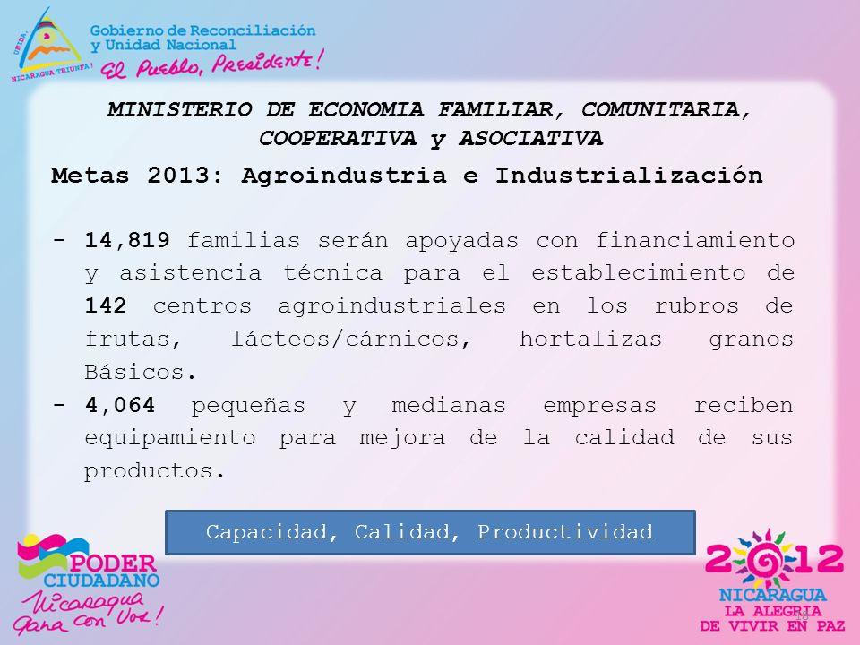 MINISTERIO DE ECONOMIA FAMILIAR, COMUNITARIA, COOPERATIVA y ASOCIATIVA Metas 2013: Agroindustria e Industrialización -14,819 familias serán apoyadas c