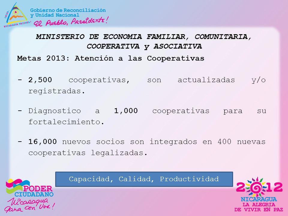 MINISTERIO DE ECONOMIA FAMILIAR, COMUNITARIA, COOPERATIVA y ASOCIATIVA Metas 2013: Atención a las Cooperativas -2,500 cooperativas, son actualizadas y