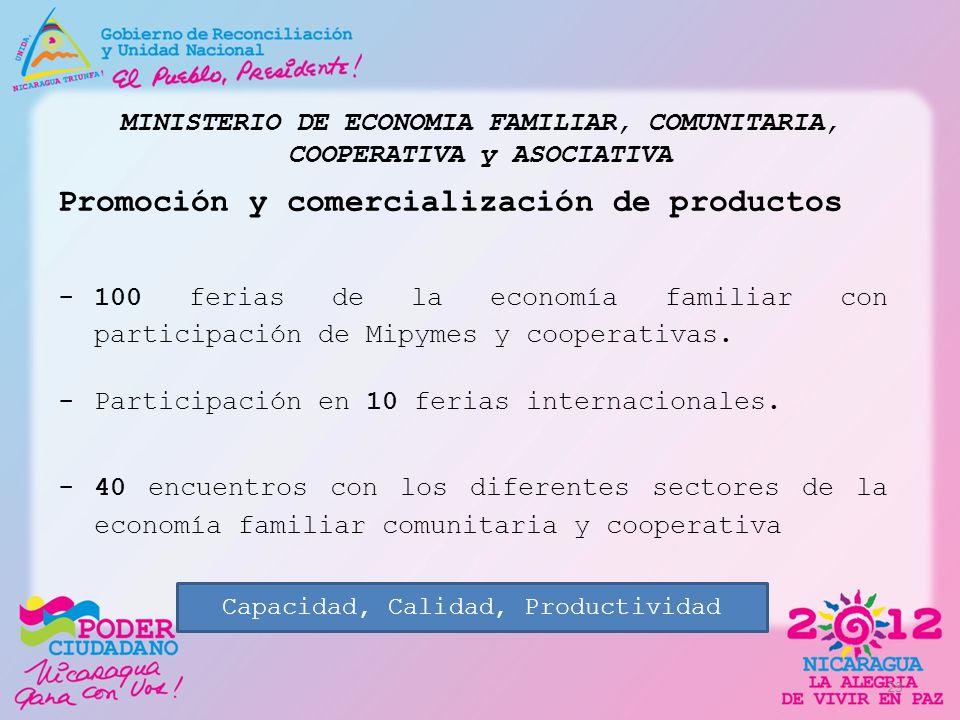 MINISTERIO DE ECONOMIA FAMILIAR, COMUNITARIA, COOPERATIVA y ASOCIATIVA Promoción y comercialización de productos -100 ferias de la economía familiar c