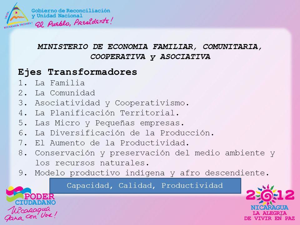 MINISTERIO DE ECONOMIA FAMILIAR, COMUNITARIA, COOPERATIVA y ASOCIATIVA Ejes Transformadores 1.La Familia 2.La Comunidad 3.Asociatividad y Cooperativis