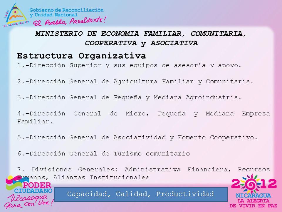 MINISTERIO DE ECONOMIA FAMILIAR, COMUNITARIA, COOPERATIVA y ASOCIATIVA Estructura Organizativa 1.-Dirección Superior y sus equipos de asesoría y apoyo