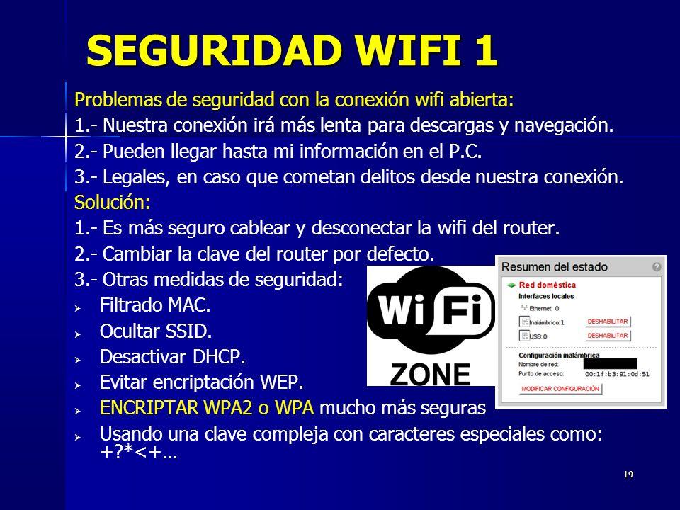 19 SEGURIDAD WIFI 1 Problemas de seguridad con la conexión wifi abierta: 1.- Nuestra conexión irá más lenta para descargas y navegación.