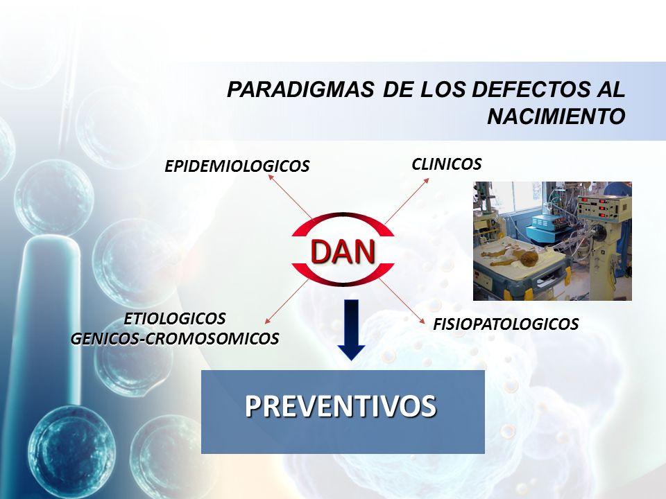 PARADIGMAS DE LOS DEFECTOS AL NACIMIENTO DANDAN EPIDEMIOLOGICOS CLINICOS ETIOLOGICOS GENICOS-CROMOSOMICOS ETIOLOGICOS GENICOS-CROMOSOMICOS FISIOPATOLOGICOS PREVENTIVOS