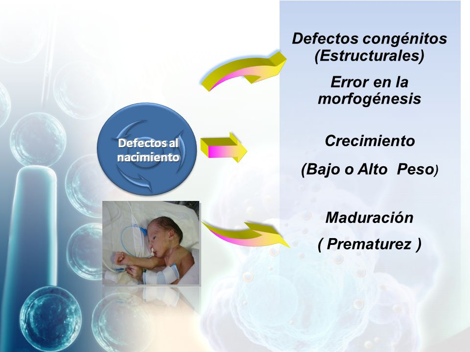 Defectos al nacimiento Defectos congénitos (Estructurales) Error en la morfogénesis Crecimiento (Bajo o Alto Peso ) Maduración ( Prematurez )
