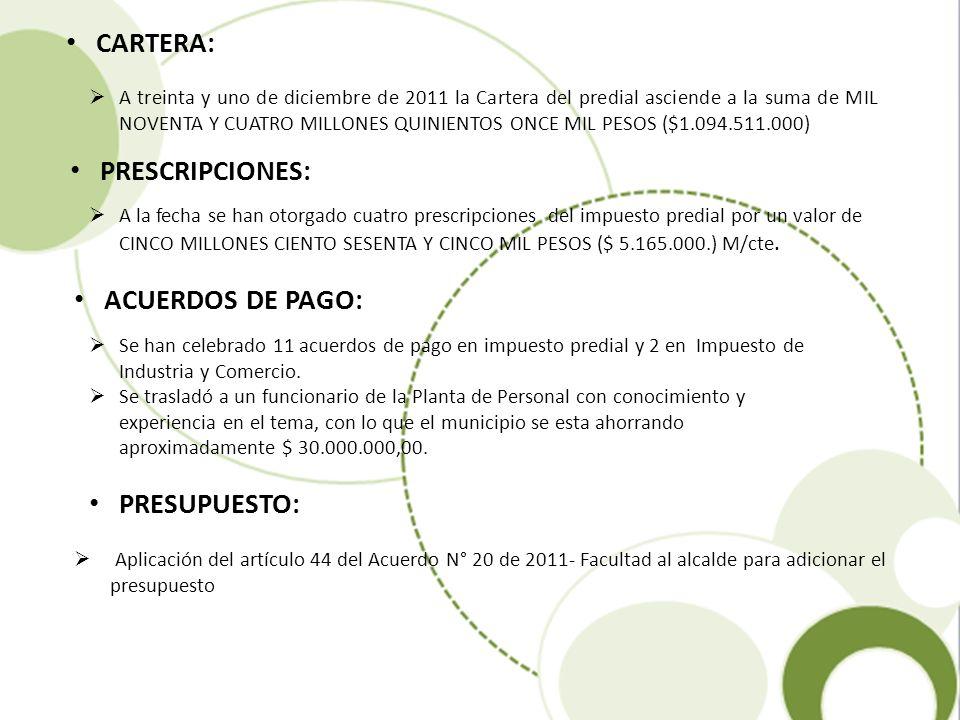 Aplicación del artículo 44 del Acuerdo N° 20 de 2011- Facultad al alcalde para adicionar el presupuesto CARTERA: A treinta y uno de diciembre de 2011