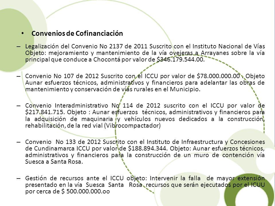 Convenios de Cofinanciación – Legalización del Convenio No 2137 de 2011 Suscrito con el Instituto Nacional de Vías Objeto: mejoramiento y mantenimient