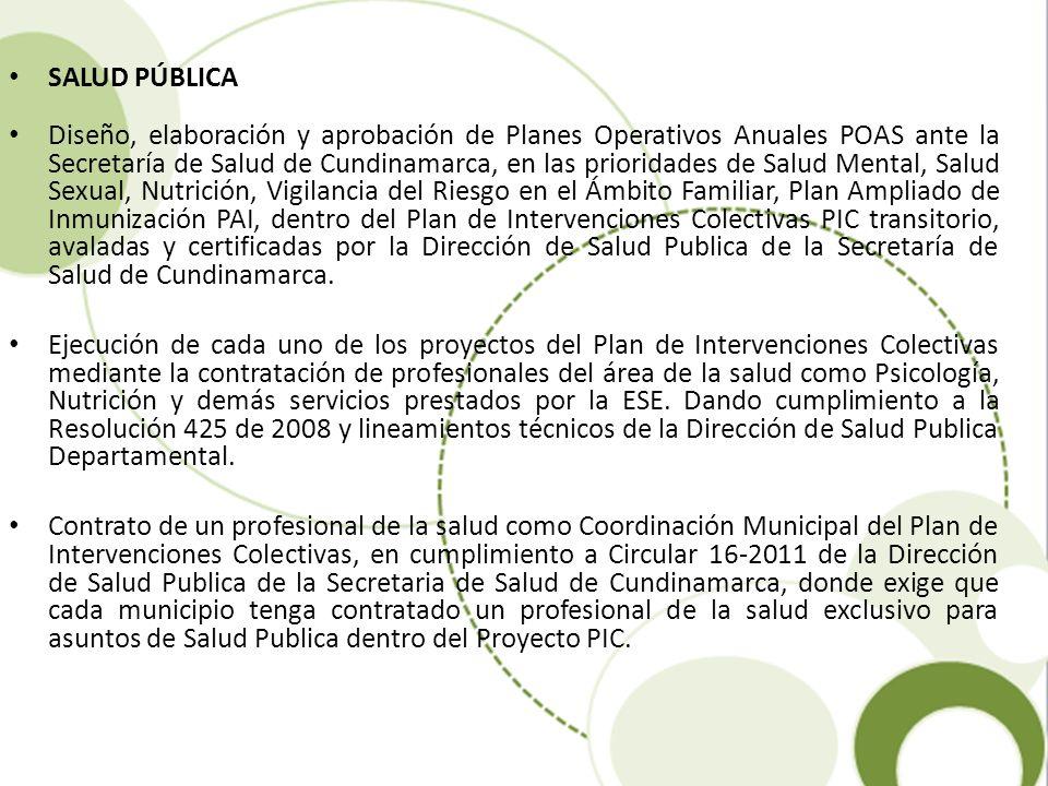 SALUD PÚBLICA Diseño, elaboración y aprobación de Planes Operativos Anuales POAS ante la Secretaría de Salud de Cundinamarca, en las prioridades de Sa