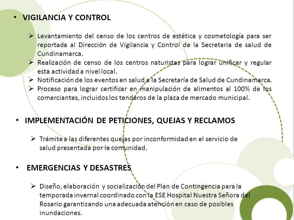 VIGILANCIA Y CONTROL Levantamiento del censo de los centros de estética y cosmetología para ser reportada al Dirección de Vigilancia y Control de la S