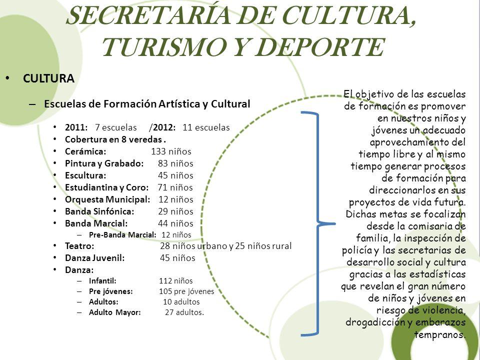 SECRETARÍA DE CULTURA, TURISMO Y DEPORTE CULTURA – Escuelas de Formación Artística y Cultural 2011: 7 escuelas /2012: 11 escuelas Cobertura en 8 vered