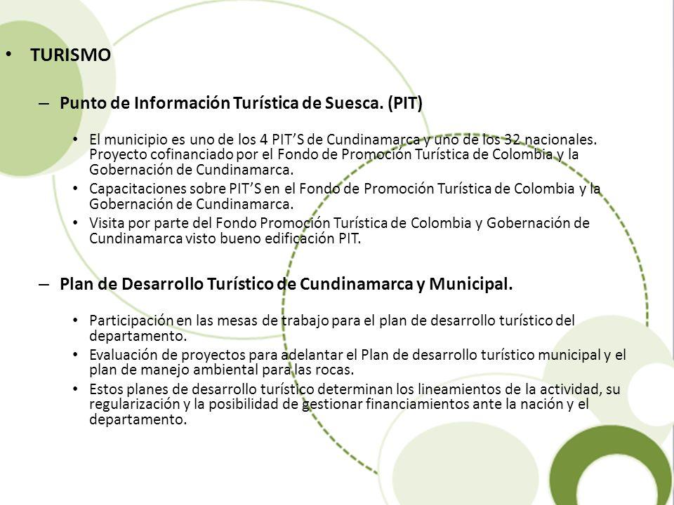 TURISMO – Punto de Información Turística de Suesca. (PIT) El municipio es uno de los 4 PITS de Cundinamarca y uno de los 32 nacionales. Proyecto cofin