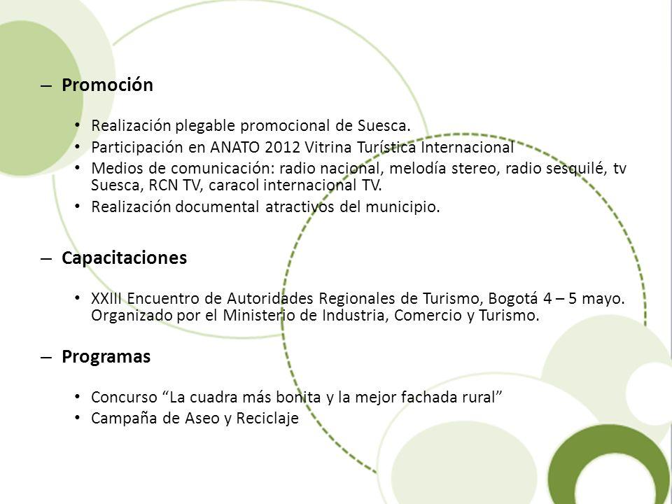 – Promoción Realización plegable promocional de Suesca. Participación en ANATO 2012 Vitrina Turística Internacional Medios de comunicación: radio naci