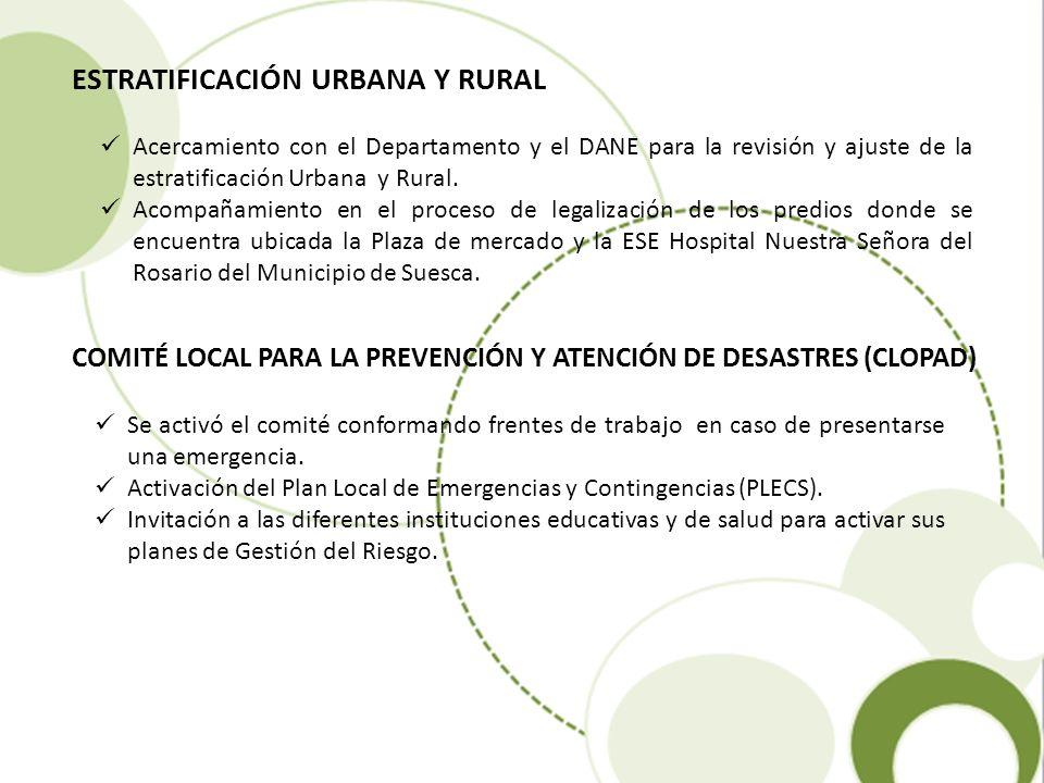 ESTRATIFICACIÓN URBANA Y RURAL Acercamiento con el Departamento y el DANE para la revisión y ajuste de la estratificación Urbana y Rural. Acompañamien