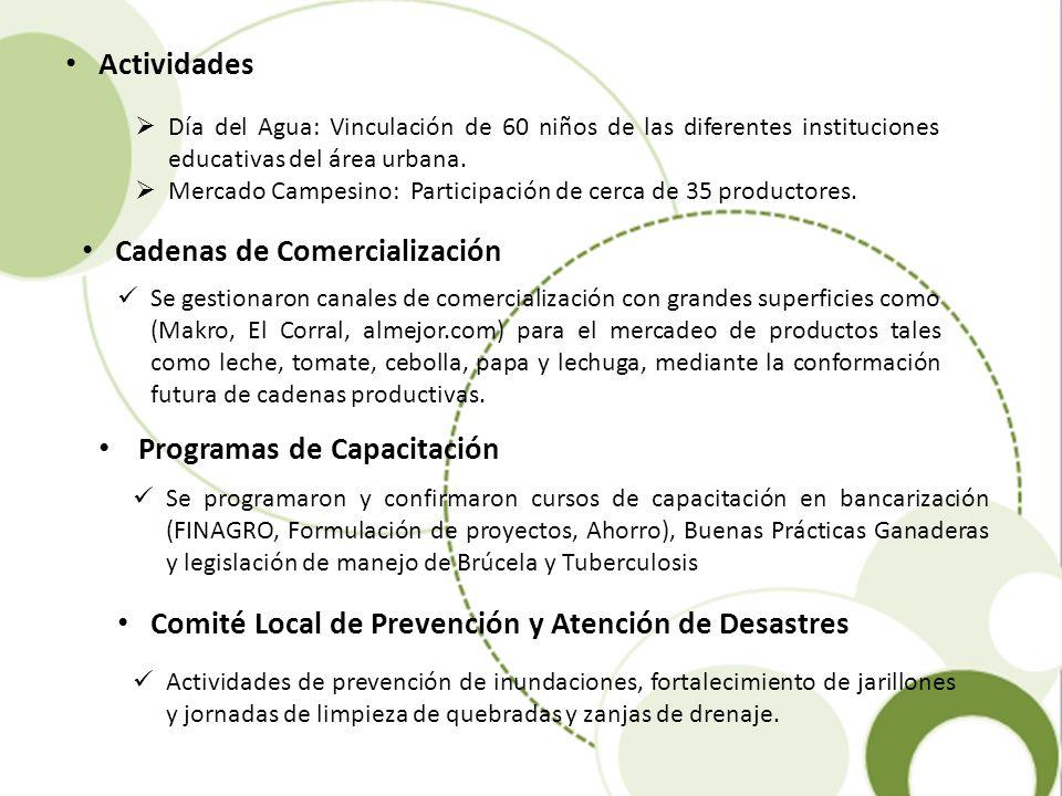 Actividades Día del Agua: Vinculación de 60 niños de las diferentes instituciones educativas del área urbana. Mercado Campesino: Participación de cerc