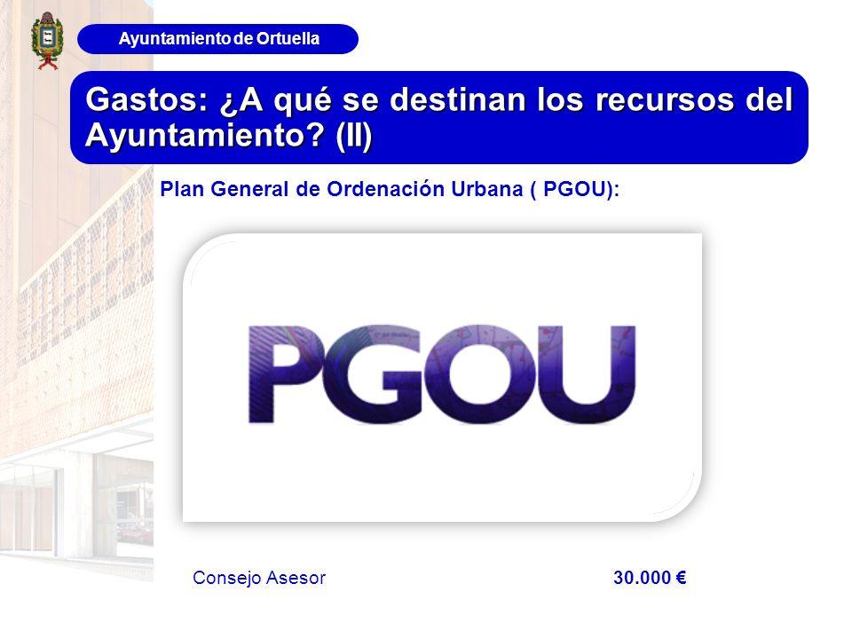 Ayuntamiento de Ortuella Gastos: ¿A qué se destinan los recursos del Ayuntamiento? (II) Consejo Asesor 30.000 Plan General de Ordenación Urbana ( PGOU