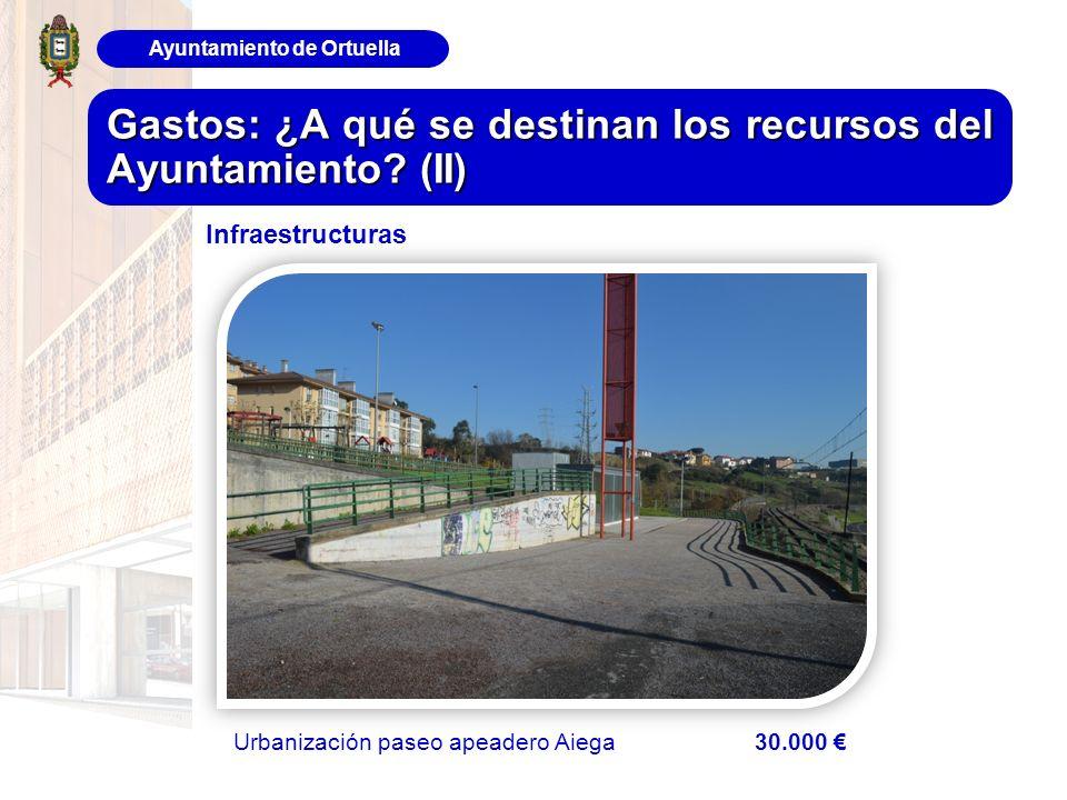 Ayuntamiento de Ortuella Gastos: ¿A qué se destinan los recursos del Ayuntamiento? (II) Urbanización paseo apeadero Aiega 30.000 Infraestructuras