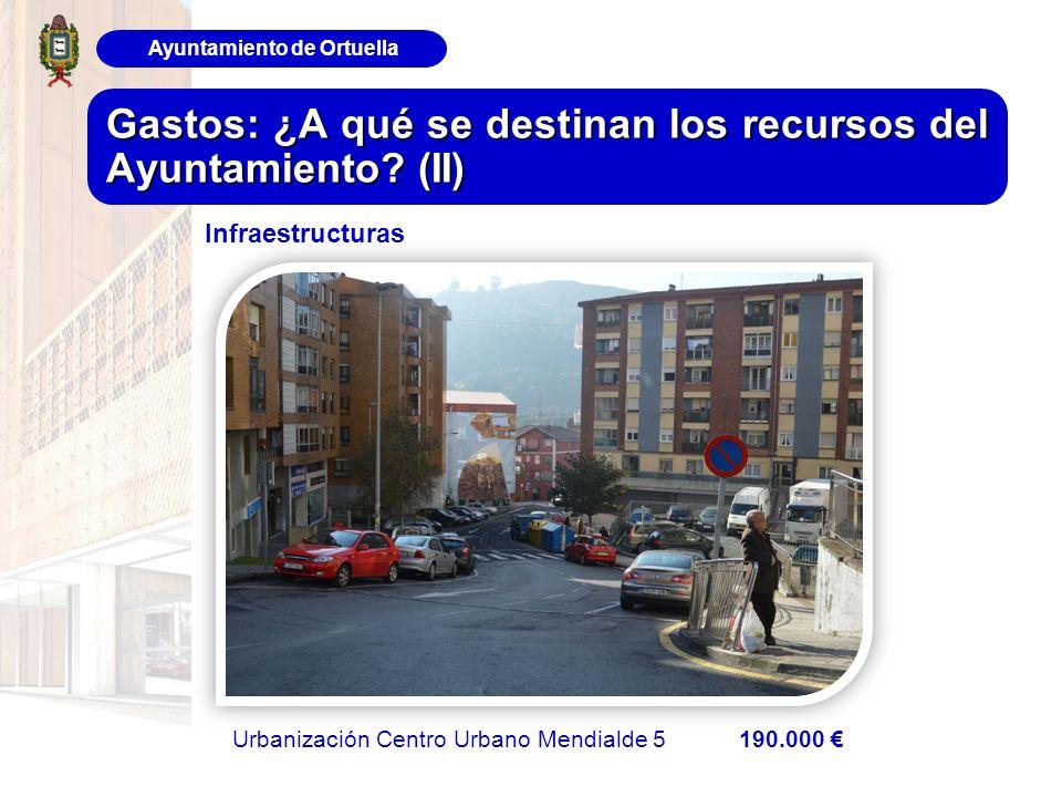 Ayuntamiento de Ortuella Gastos: ¿A qué se destinan los recursos del Ayuntamiento? (II) Urbanización Centro Urbano Mendialde 5 190.000 Infraestructura
