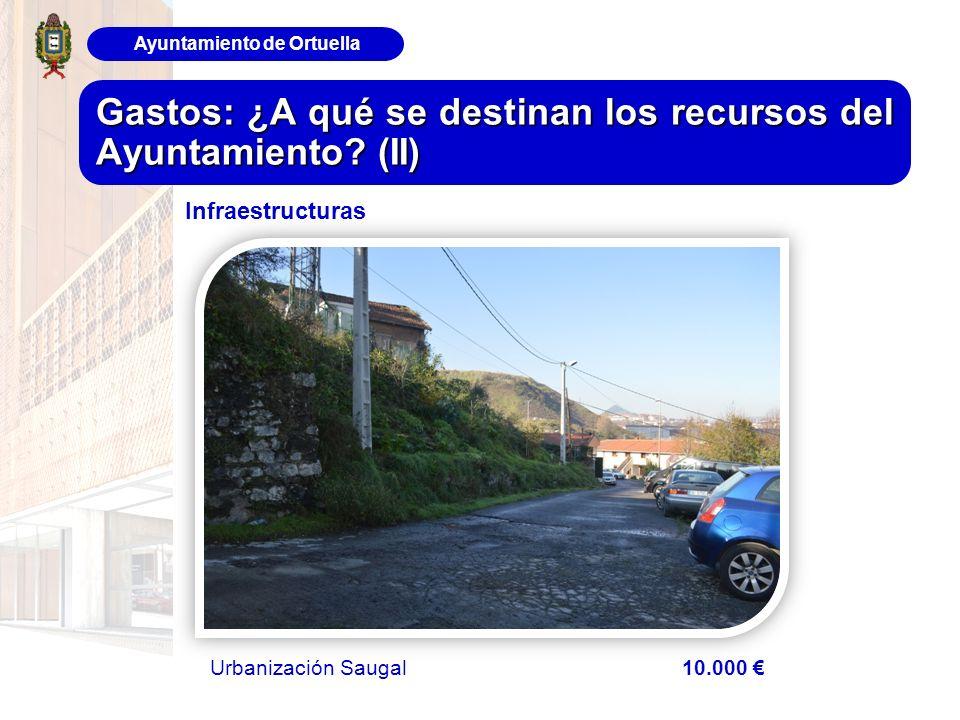 Ayuntamiento de Ortuella Gastos: ¿A qué se destinan los recursos del Ayuntamiento? (II) Infraestructuras Urbanización Saugal 10.000