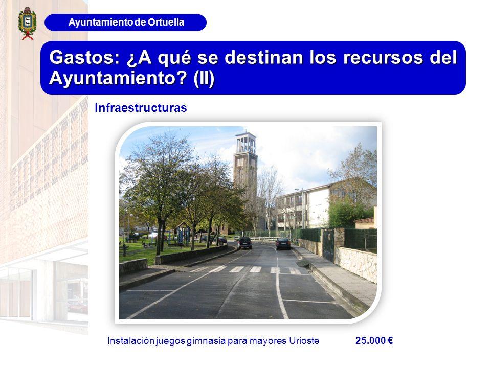 Ayuntamiento de Ortuella Gastos: ¿A qué se destinan los recursos del Ayuntamiento? (II) Infraestructuras Instalación juegos gimnasia para mayores Urio