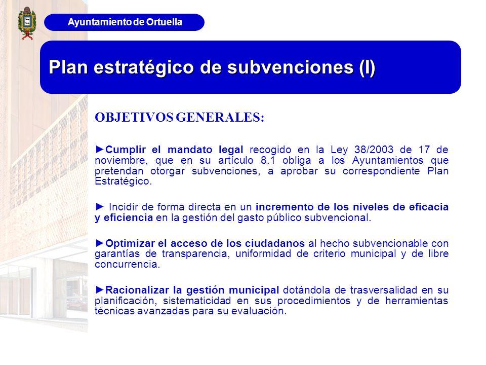 Ayuntamiento de Ortuella Plan estratégico de subvenciones (I) OBJETIVOS GENERALES: Cumplir el mandato legal recogido en la Ley 38/2003 de 17 de noviem