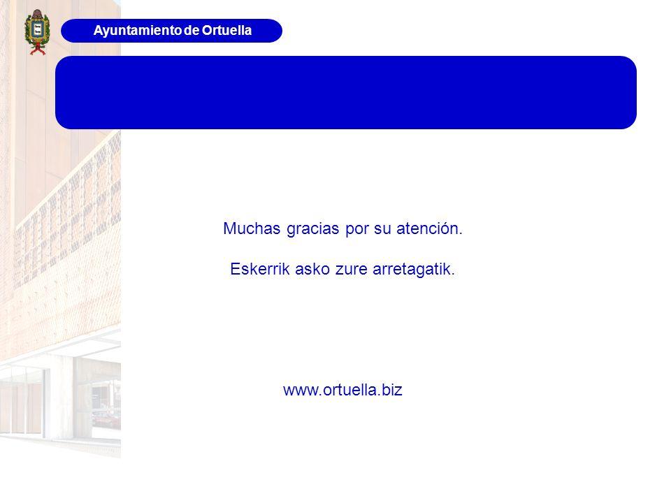 Ayuntamiento de Ortuella Muchas gracias por su atención. Eskerrik asko zure arretagatik. www.ortuella.biz