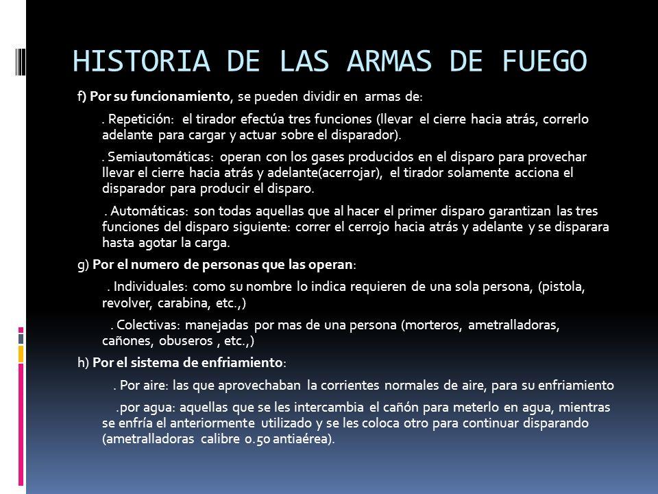 HISTORIA DE LAS ARMAS DE FUEGO f) Por su funcionamiento, se pueden dividir en armas de:.