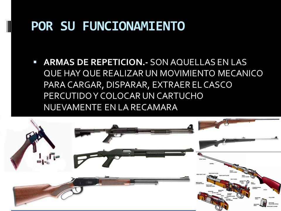 POR SU FUNCIONAMIENTO ARMAS DE REPETICION.- SON AQUELLAS EN LAS QUE HAY QUE REALIZAR UN MOVIMIENTO MECANICO PARA CARGAR, DISPARAR, EXTRAER EL CASCO PERCUTIDO Y COLOCAR UN CARTUCHO NUEVAMENTE EN LA RECAMARA