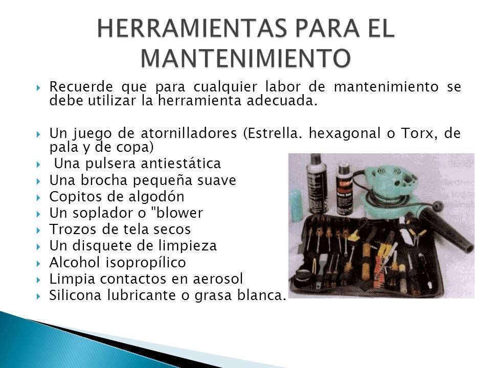 Recuerde que para cualquier labor de mantenimiento se debe utilizar la herramienta adecuada. Un juego de atornilladores (Estrella. hexagonal o Torx, d