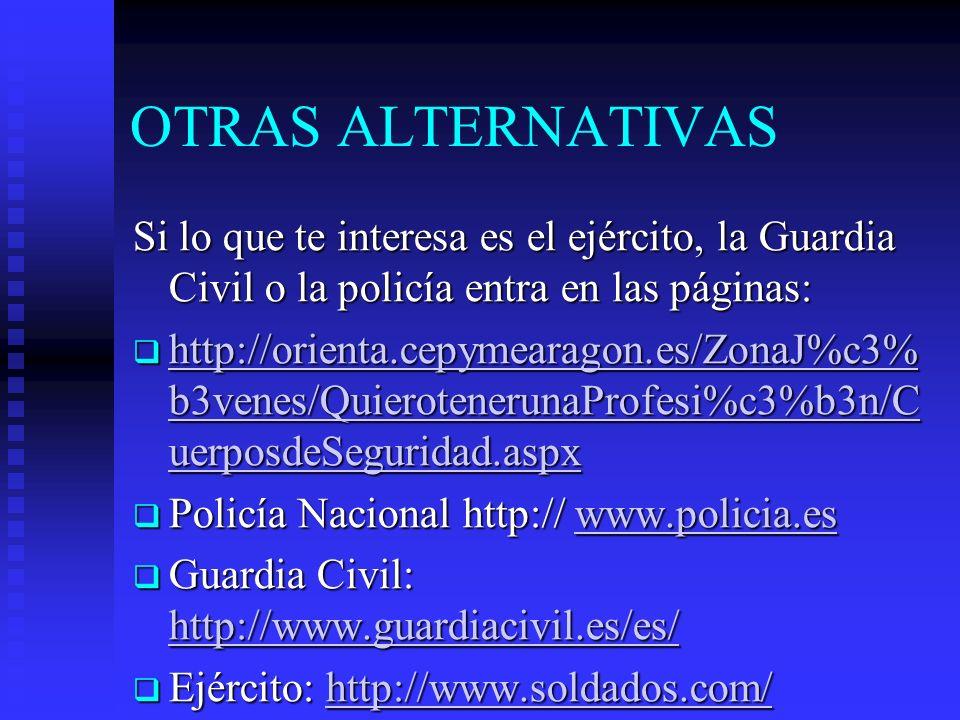 OTRAS ALTERNATIVAS Si lo que te interesa es el ejército, la Guardia Civil o la policía entra en las páginas: http://orienta.cepymearagon.es/ZonaJ%c3%