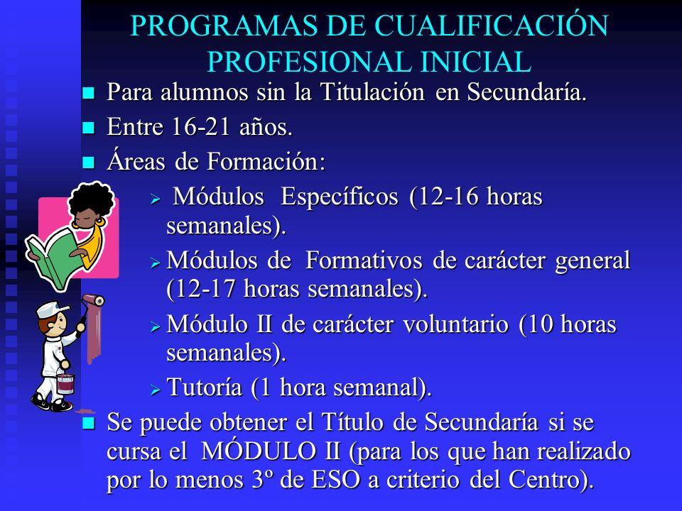 PROGRAMAS DE CUALIFICACIÓN PROFESIONAL INICIAL Para alumnos sin la Titulación en Secundaría. Para alumnos sin la Titulación en Secundaría. Entre 16-21