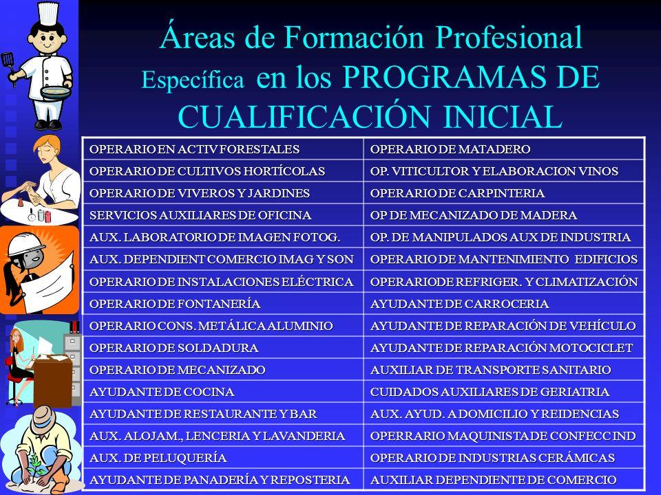 Áreas de Formación Profesional Específica en los PROGRAMAS DE CUALIFICACIÓN INICIAL OPERARIO EN ACTIV FORESTALES OPERARIO DE MATADERO OPERARIO DE CULT