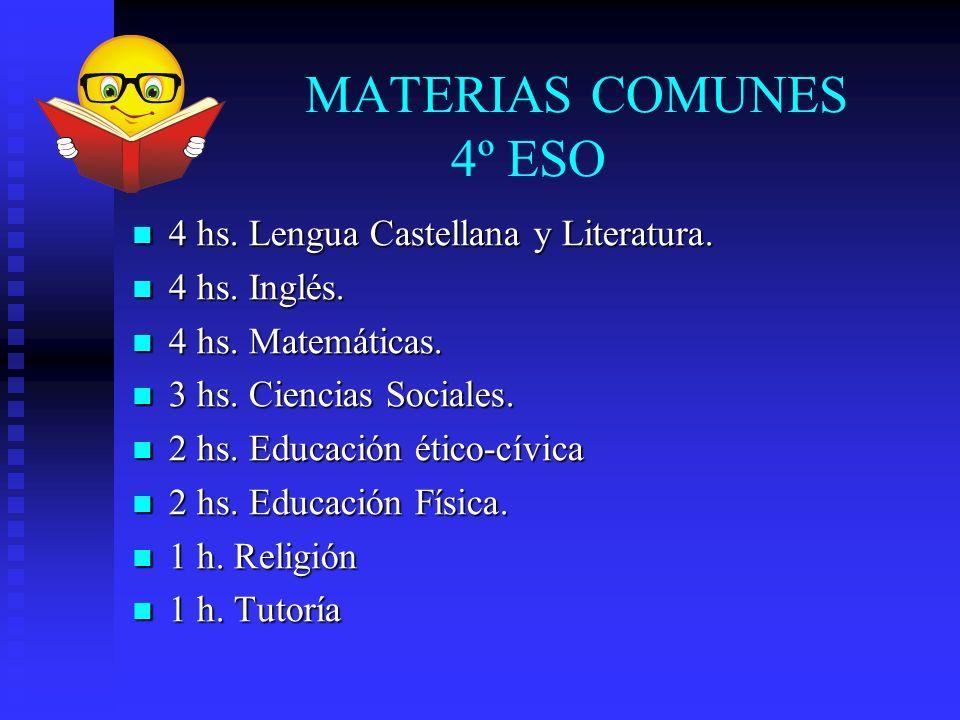 MATERIAS COMUNES 4º ESO 4 hs. Lengua Castellana y Literatura. 4 hs. Lengua Castellana y Literatura. 4 hs. Inglés. 4 hs. Inglés. 4 hs. Matemáticas. 4 h