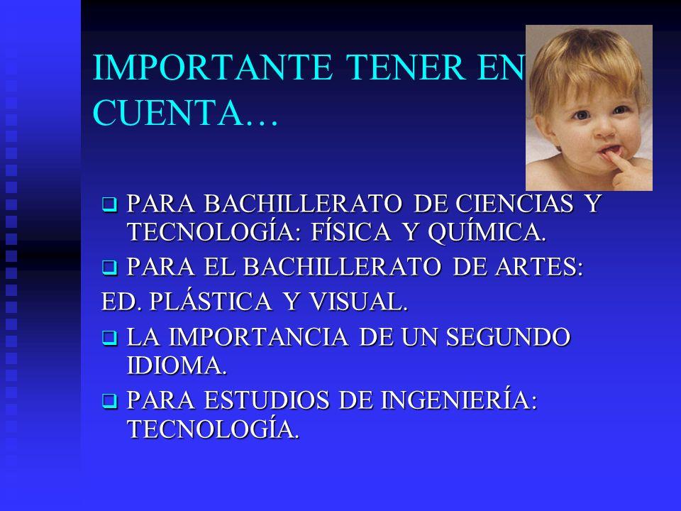 IMPORTANTE TENER EN CUENTA… PARA BACHILLERATO DE CIENCIAS Y TECNOLOGÍA: FÍSICA Y QUÍMICA. PARA BACHILLERATO DE CIENCIAS Y TECNOLOGÍA: FÍSICA Y QUÍMICA