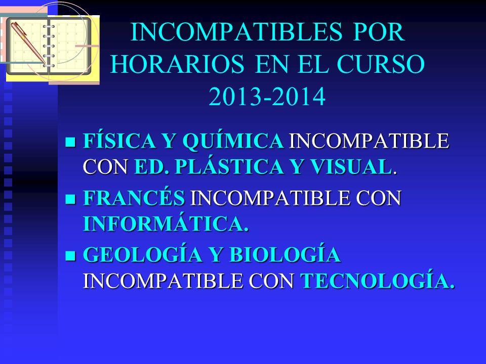 INCOMPATIBLES POR HORARIOS EN EL CURSO 2013-2014 FÍSICA Y QUÍMICA INCOMPATIBLE CON ED. PLÁSTICA Y VISUAL. FÍSICA Y QUÍMICA INCOMPATIBLE CON ED. PLÁSTI