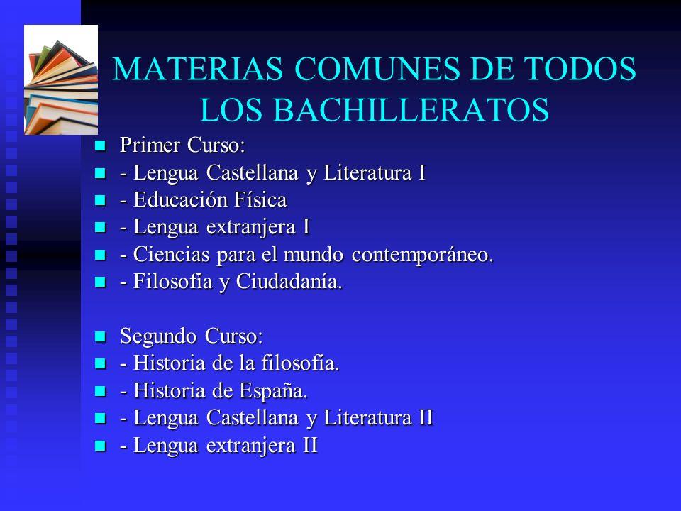 MATERIAS COMUNES DE TODOS LOS BACHILLERATOS Primer Curso: Primer Curso: - Lengua Castellana y Literatura I - Lengua Castellana y Literatura I - Educac