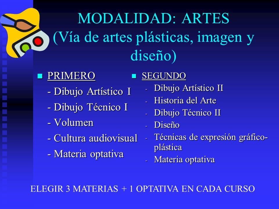MODALIDAD: ARTES ( Vía de artes escénicas, música y danza) PRIMERO PRIMERO - Análisis Musical I - Anatomía aplicada - Cultura audiovisual - Lenguaje y práctica musical SEGUNDO - Análisis musical II - Artes escénicas - Hª de la música y la danza - Literatura universal ELEGIR 3 MATERIAS + 1 OPTATIVA EN CADA CURSO