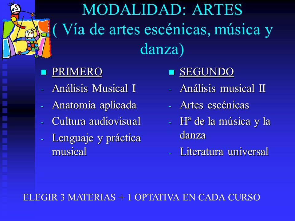 MODALIDAD: ARTES ( Vía de artes escénicas, música y danza) PRIMERO PRIMERO - Análisis Musical I - Anatomía aplicada - Cultura audiovisual - Lenguaje y