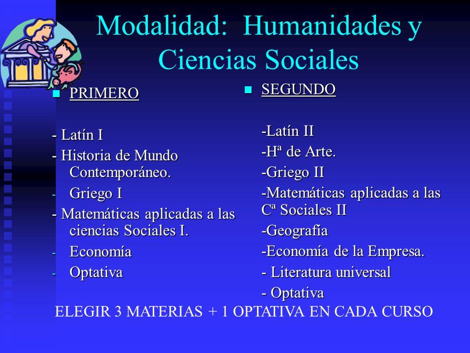 Modalidad: Humanidades y Ciencias Sociales PRIMERO PRIMERO - Latín I - Historia de Mundo Contemporáneo. - Griego I - Matemáticas aplicadas a las cienc