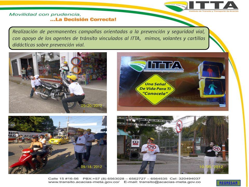 Realización de permanentes campañas orientadas a la prevención y seguridad vial, con apoyo de los agentes de tránsito vinculados al ITTA, mimos, volan