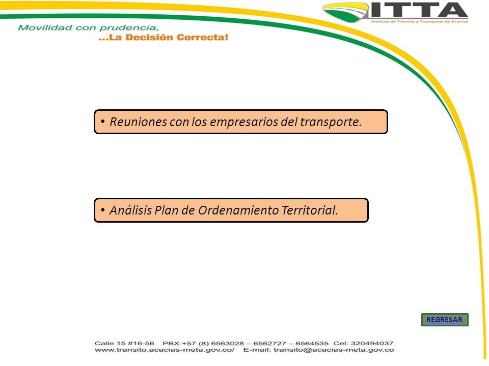Reuniones con los empresarios del transporte. Análisis Plan de Ordenamiento Territorial. REGRESAR