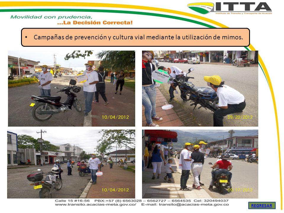 Campañas de prevención y cultura vial mediante la utilización de mimos. REGRESAR
