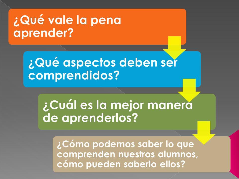 ¿Qué vale la pena aprender? ¿Qué aspectos deben ser comprendidos? ¿Cuál es la mejor manera de aprenderlos? ¿Cómo podemos saber lo que comprenden nuest