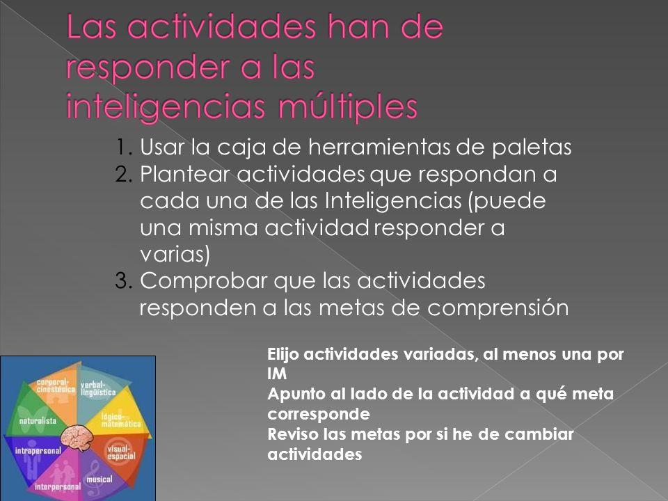 1.Usar la caja de herramientas de paletas 2.Plantear actividades que respondan a cada una de las Inteligencias (puede una misma actividad responder a