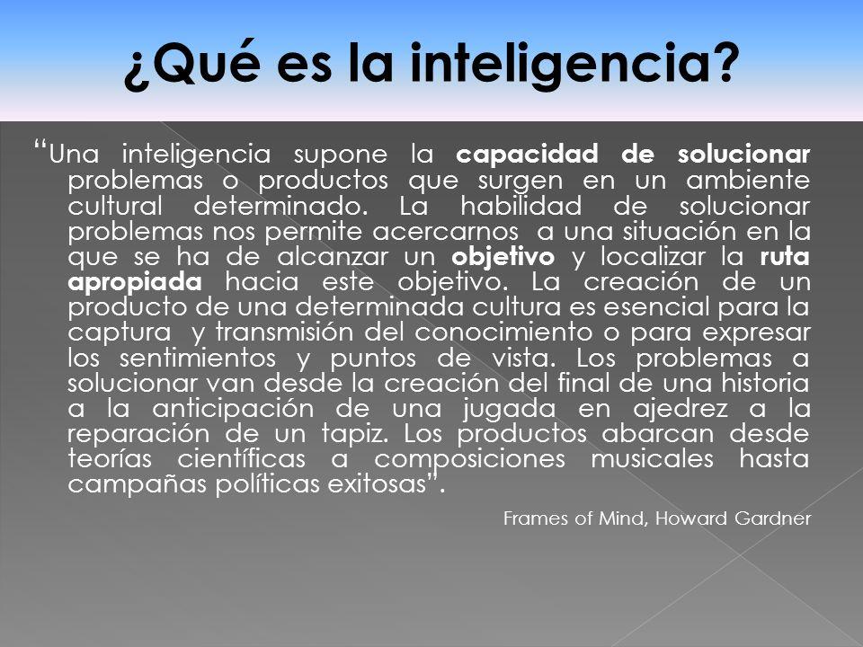 Una inteligencia supone la capacidad de solucionar problemas o productos que surgen en un ambiente cultural determinado. La habilidad de solucionar pr