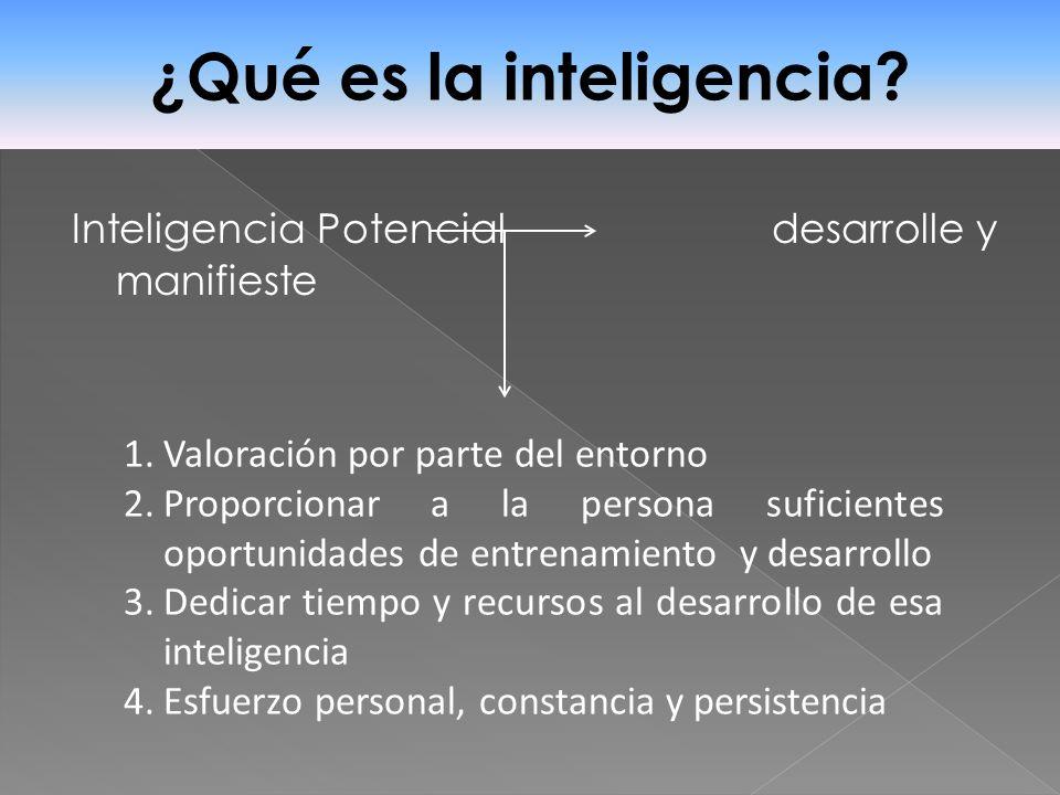 Inteligencia Potencial desarrolle y manifieste ¿Qué es la inteligencia? 1.Valoración por parte del entorno 2.Proporcionar a la persona suficientes opo