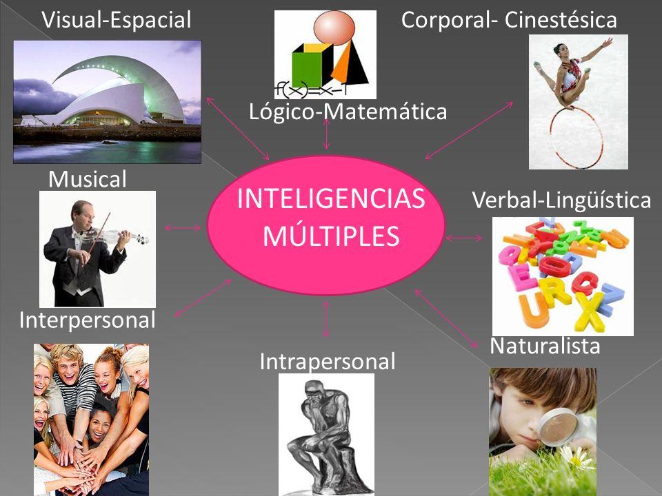 INTELIGENCIAS MÚLTIPLES Lógico-Matemática Corporal- Cinestésica Musical Naturalista Interpersonal Visual-Espacial Verbal-Lingüística Intrapersonal